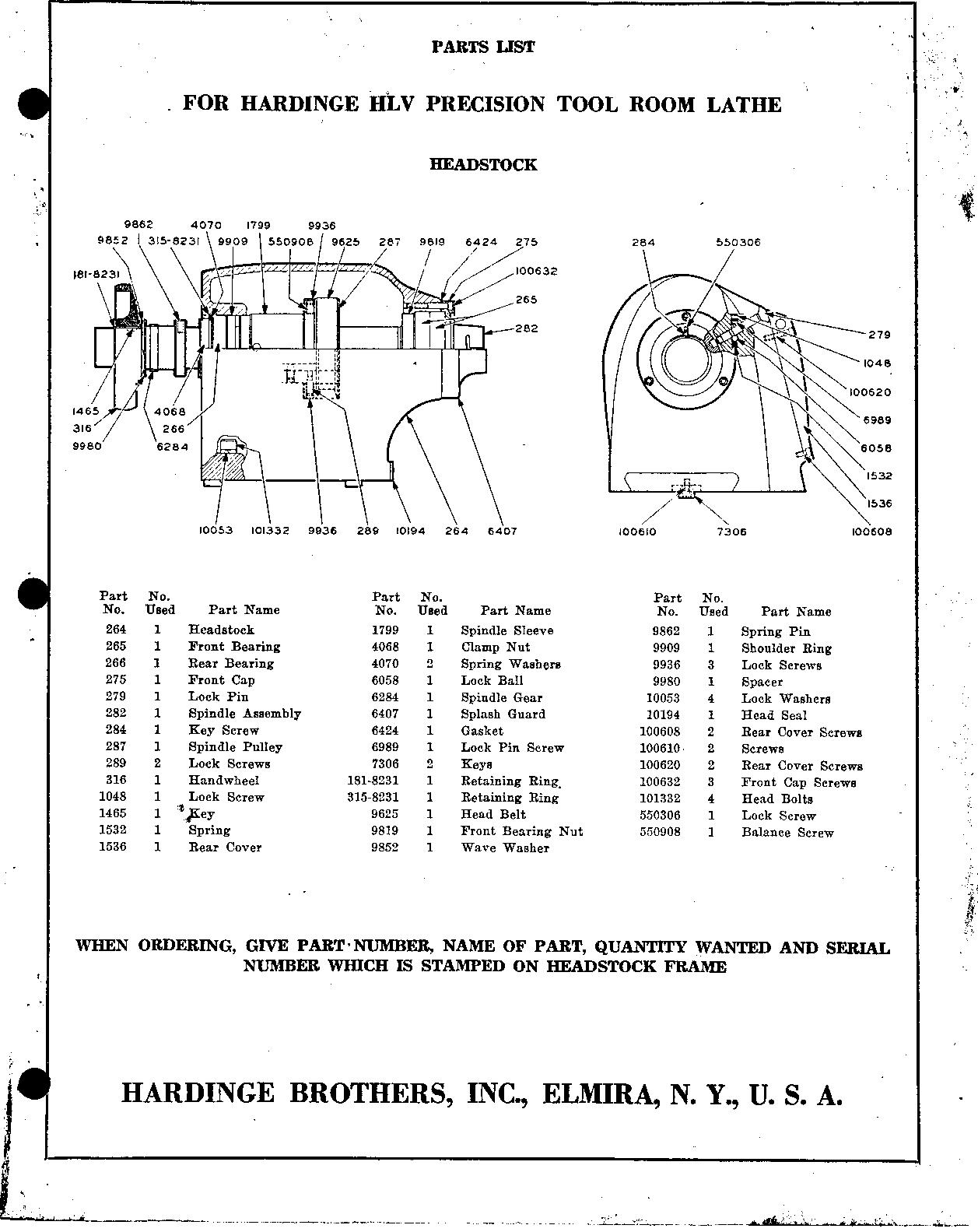 Hardinge Hlv Parts List