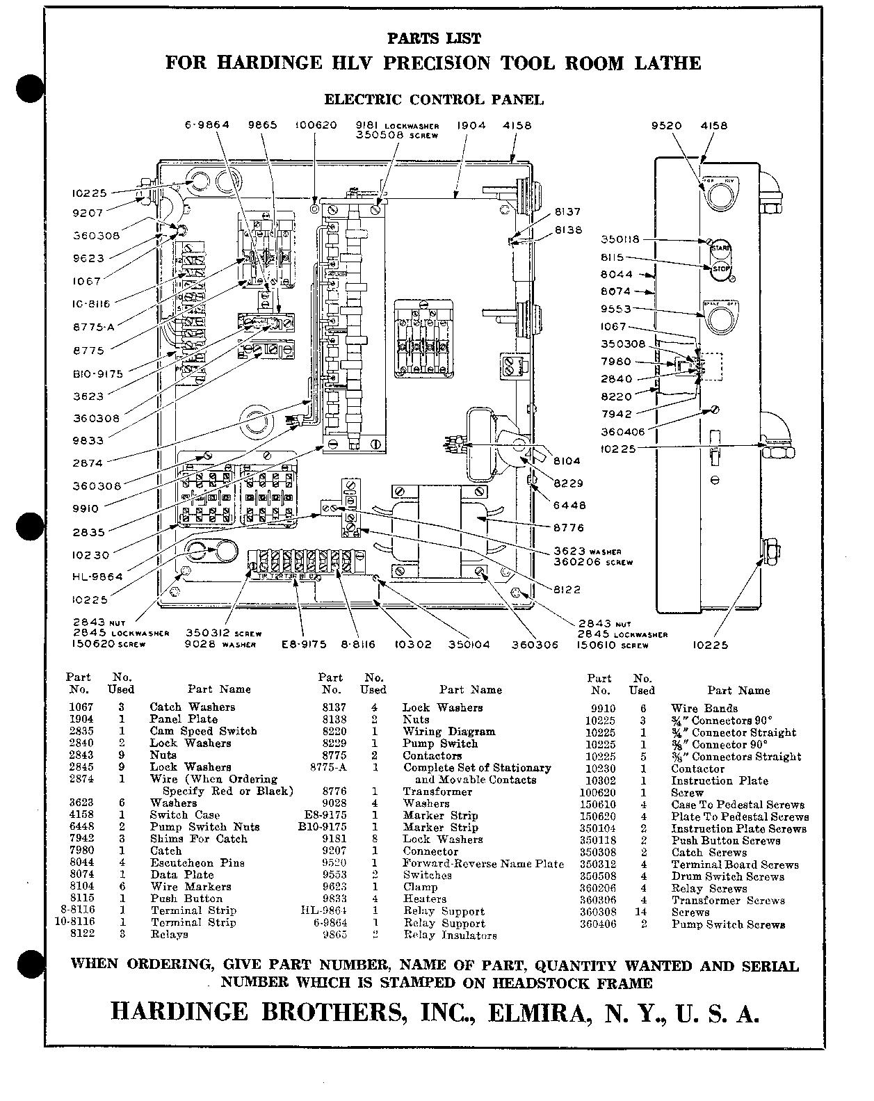 Hardinge hlv parts list page 24 electric control panel cheapraybanclubmaster
